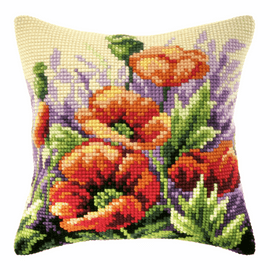 Poppies On Meadow Long Cushion Cross Stitch Kit By Orchidea