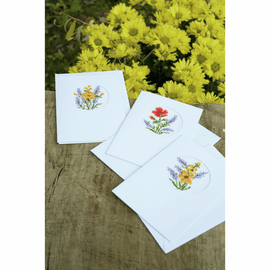 Flowers And Lavender Set Of 3 Greeting Card Counted Cross Stitch Kit By Veravco