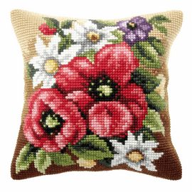 Poppy On Meadow Long Cushion Cross Stitch Kit By Orchidea