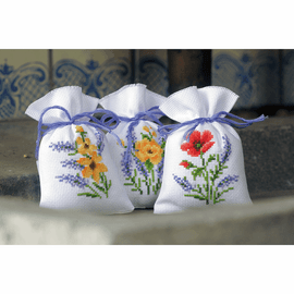 Flowers & Lavender (Set of 3) Pot-Pourri Bag Counted Cross Stitch Kit By Vervaco