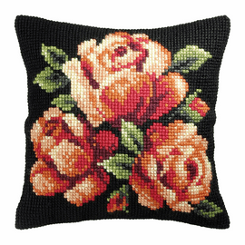 Red Roses Large Cushion Cross Stitch Kit By Orchidea