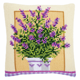 Lavender in Pot Cushion Cross Stitch Kit By Vervaco