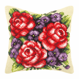 Roses And Violets Large Cushion Cross Stitch Kit By Orchidea