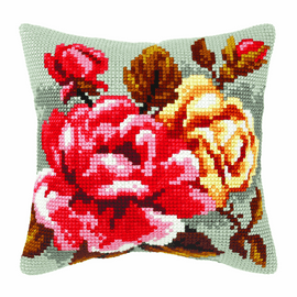 Roses On Grey Background Large Cushion Cross Stitch Kit By Orchidea
