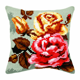 Rose On Grey Background Large Cushion Cross Stitch Kit By Orchidea