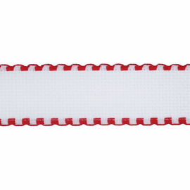 1 Metre of Aida Band Fabric: 30mm: 16 Count: White with Red Edging