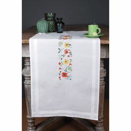 Embroidery Kit Runner Fresh Flowers By Vervaco