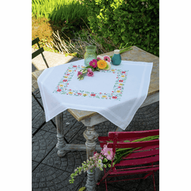 Embroidery Kit Tablecloth Fresh Flowers By Vervaco
