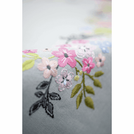 Embroidery Kit Tablecloth Flowers & Leaves by  Vervaco