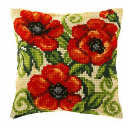 Large Cushion Poppies Cross Stitch Kit by Orchidea