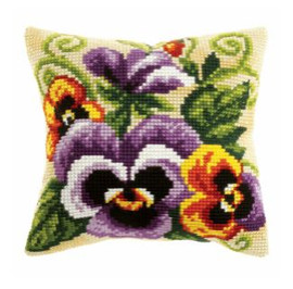 Large Cushion Pansies Cross Stitch Kit by Orchidea