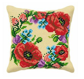 Large Cushion Wild Flowers Cross Stitch Kit by Orchidea