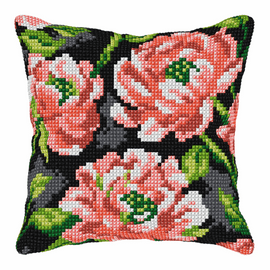 Flowers on Black Background Large Cushion Cross Stitch Kit by Orchidea