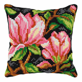 Pink Flowers on Black Background Large Cushion Cross Stitch Kit by Orchidea