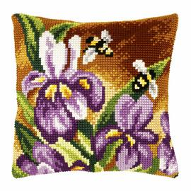 Irises Large Cushion Cross Stitch Kit by Orchidea