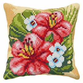 Hibiscus Large Cushion Cross Stitch Kit by Orchidea
