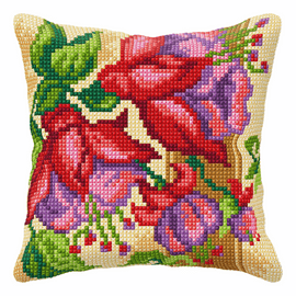 Exotic Flowers Large Cushion Cross Stitch Kit by Orchidea