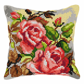 Roses Large Cushion Cross Stitch Kit by Orchidea