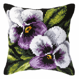 Pansies on Black Background Large Cushion Cross Stitch Kit by Orchidea