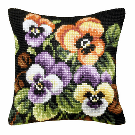 Pansies Large Cushion Cross Stitch Kit by Orchidea