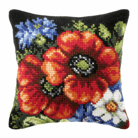 Wildflowers on Black Background Cross Stitch Large Cushion Kit by Orchidea