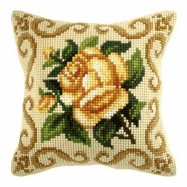 Yellow Rose Cross Stitch Large Cushion Kit by Orchidea