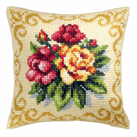 Spring Flowers Cross Stitch Large Cushion Kit by Orchidea