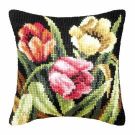 Tumbling Tulips Cross Stitch Large Cushion Kit by Orchidea