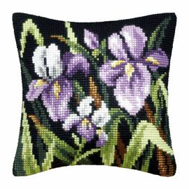 Purple Irises Large Cushion Cross Stitch Kit By Orchidea