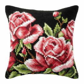 Roses On Black Background Cushion Cross Stitch Kit By Orchidea