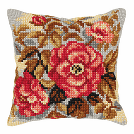 Roses Cushion Cross Stitch Kit By Orchidea
