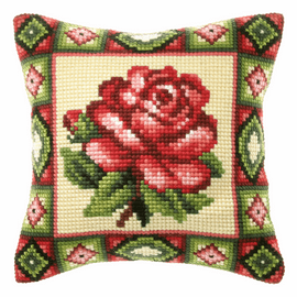 Pink Rose Large Cushion Cross Stitch Kit By Orchidea