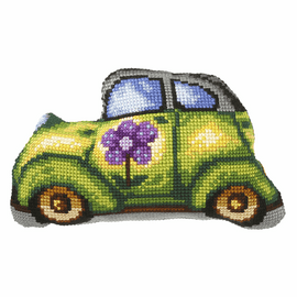 Green Car Large Cushion Cross Stitch Kit By Orchidea