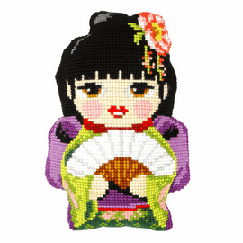 Japanese Girl Large Cushion Cross Stitch Kit By Orchidea