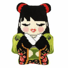 Japanese Girl Cushion Cross Stitch Kit By Orchidea