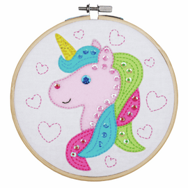Unicorn Embroidery Kit with Ring By Vervaco