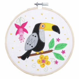 Toucan Embroidery Kit with Ring By Vervaco
