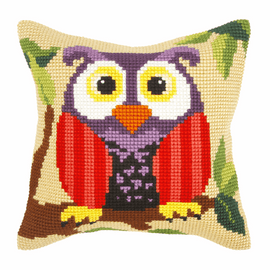 Owl On A Branch Large Cushion Cross Stitch Kit By Orchidea