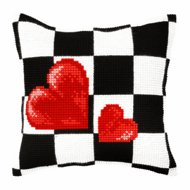Hearts Large Cushion Cross Stitch Kit By Orchidea