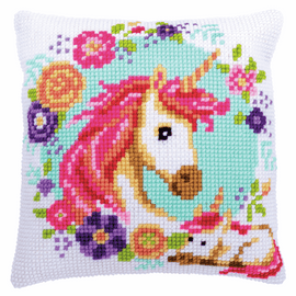 Mother and Baby Unicorn Cushion Cross Stitch Kit By Vervaco