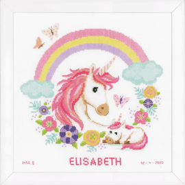 Mother and Baby Unicorn Counted Cross Stitch Kit By Vervaco