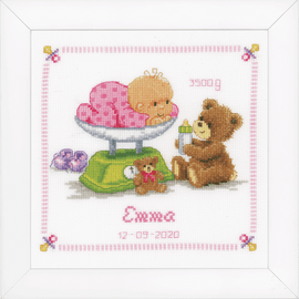 Birth Record Baby & Bear Counted Cross Stitch Kit By Vervaco