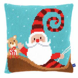 Happy Santa Cushion Cross Stitch Kit By Vervaco