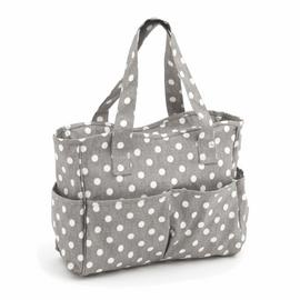 Grey Linen Polka Dot Matt PVC Craft Bag by Hobby Gift