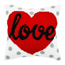 LOVE  Large Cushion Cross Stitch Kit By Orchidea