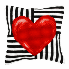 LOVE Heart  Large Cushion Cross Stitch Kit By Orchidea