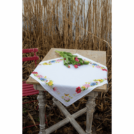 Colourful Flowers Tablecloth Counted Cross Stitch Kit by Vervaco