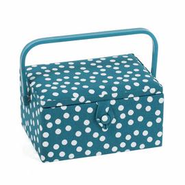 Teal Spot Sewing Box (M):