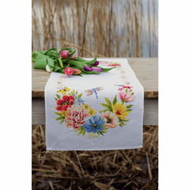 Colourful Flowers table runner Counted Cross Stitch Kit by Vervaco