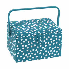Teal Spot Sewing Box (L) by Hobby Gift